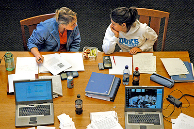 Students studying in Bostock Library: Mark Zupan