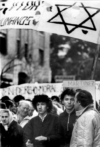 Marshall Meyer's son Gabriel (center) at a human rights rally