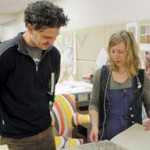 Dave Eggers with Erin Hammeke in the Conservation Lab