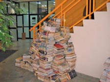 books stacked on floor