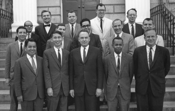 Nat Nakasa (front row, second from right) with other Nieman Fellows at Harvard, 1965.
