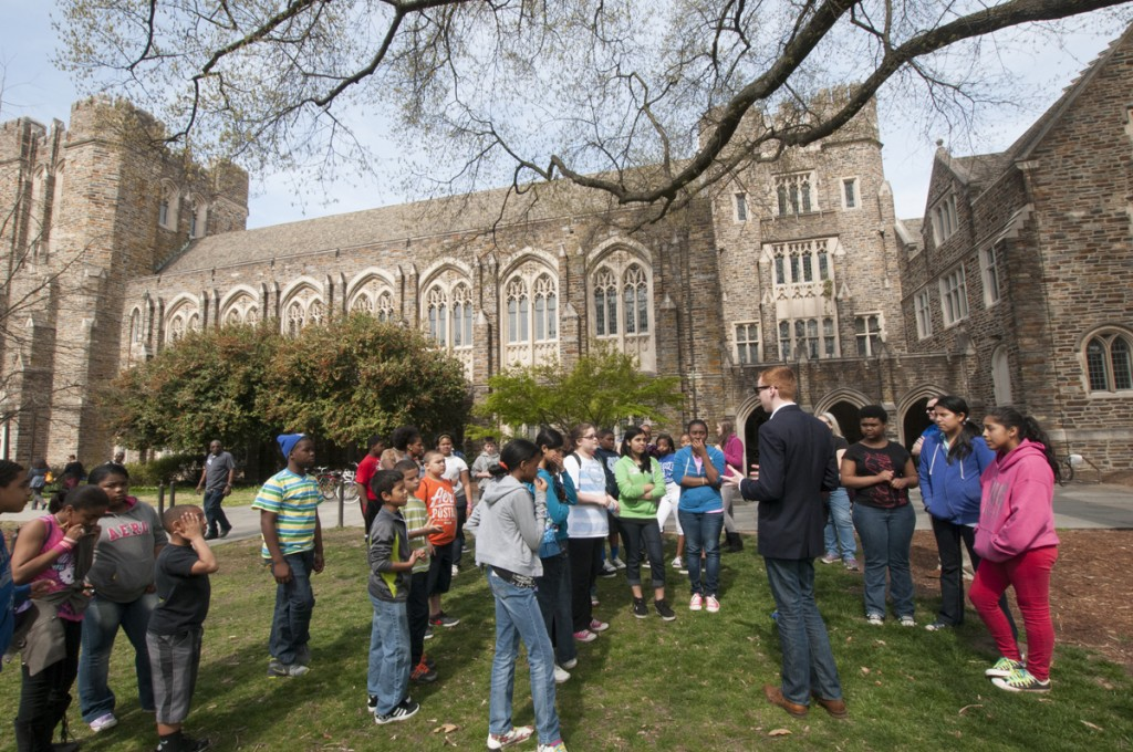 West Campus Quad: A school group stops in front of the Rubenstein Library during a campus tour. Hundreds of tours come through the main West Campus library complex every year.