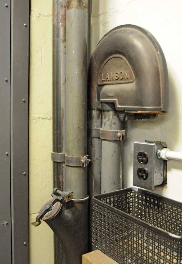 Pneumatic tube terminal in the 1948 library stacks.