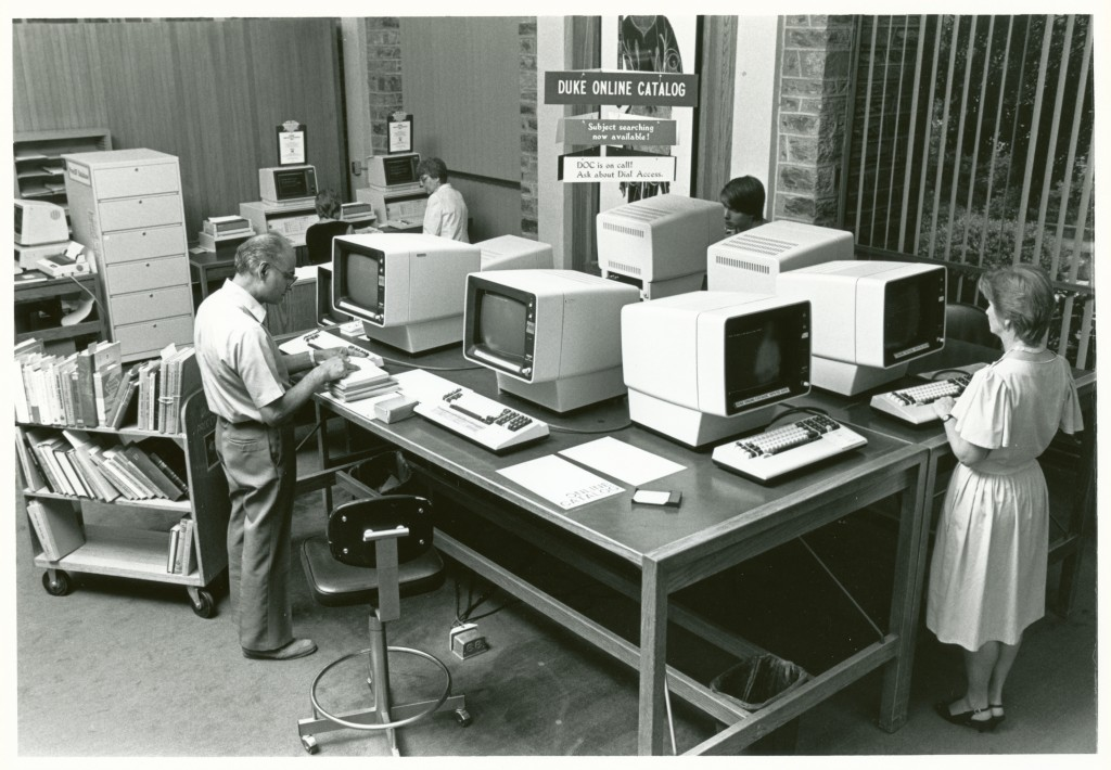 The debut of the first electronic library catalog at Duke, 1980s.