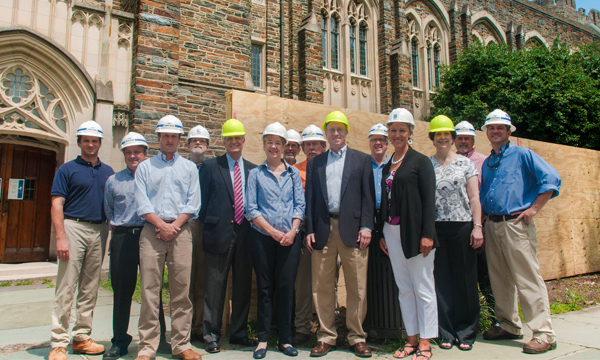 Deborah Jakubs (center) with the library Executive Group and Rubenstein Library renovation team, summer 2013.