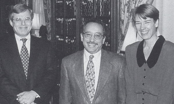 Jakubs (right), then Head of International and Area Studies, at a library reception in 1995. Pictured with Richard Ekman (left), Secretary of the Andrew W. Mellon Foundation, and Peter Lange (center), then Vice Provost for Academic and International Affairs at Duke.