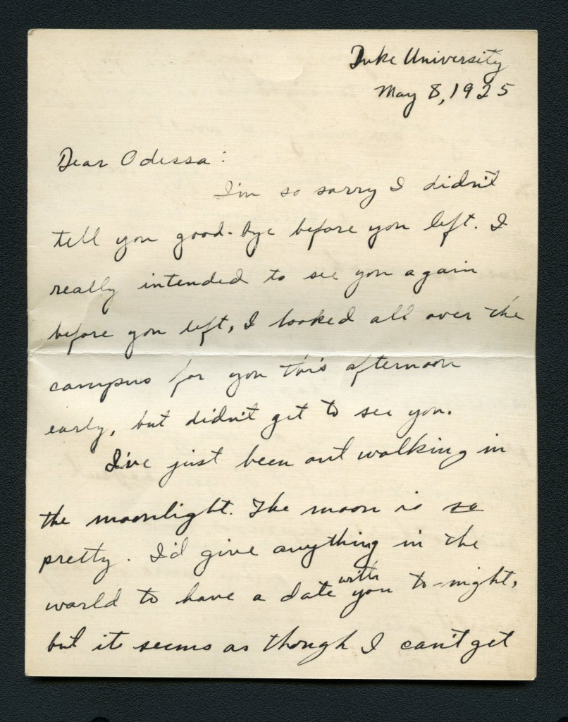 "A courtship letter to Massey from a fellow student named ""Duck,"" who writes, ""I'd give anything in the world to have a date with you to-night."""