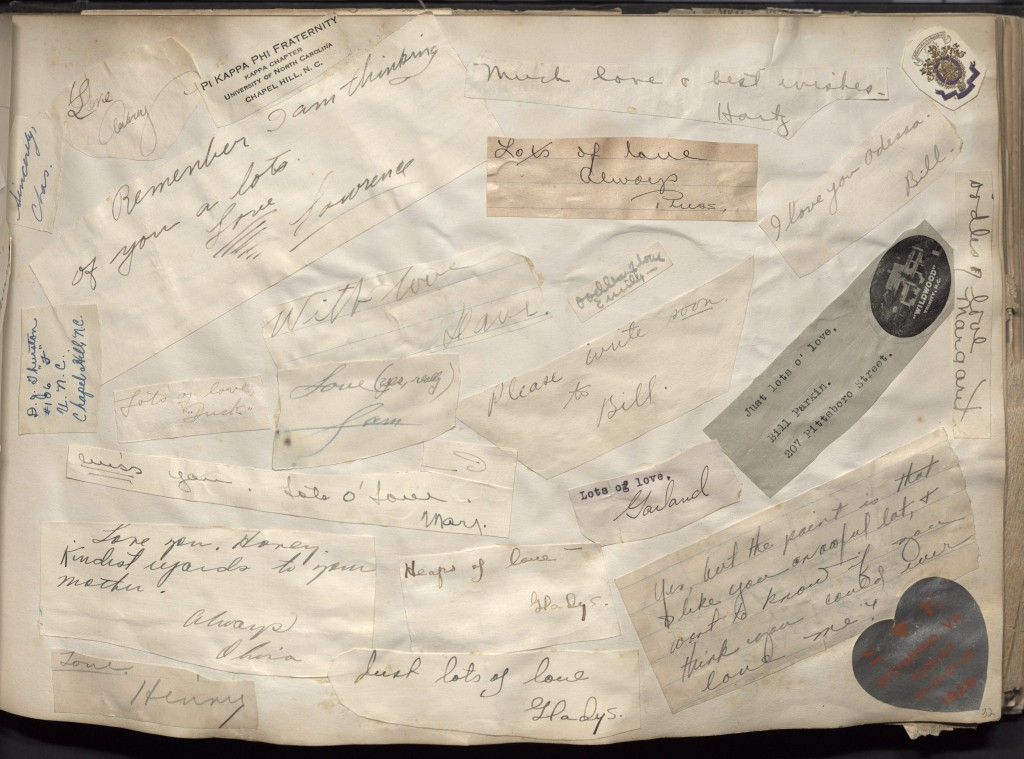 Odessa Massey's scrapbook from her time as a student at Duke contains pages of professions of love, cut and pasted from letters sent by her many admirers. Duke University Archives.