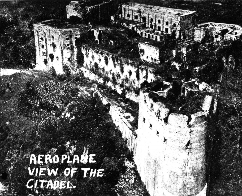 An aerial view of the Citadel in northern Haiti. The Monograph contains detailed physical and geographical illustrations of the Haitian landscape as it appeared in the early 20th century.