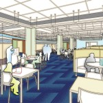 Architectural rendering of the Research Commons on the first floor of Bostock Library.