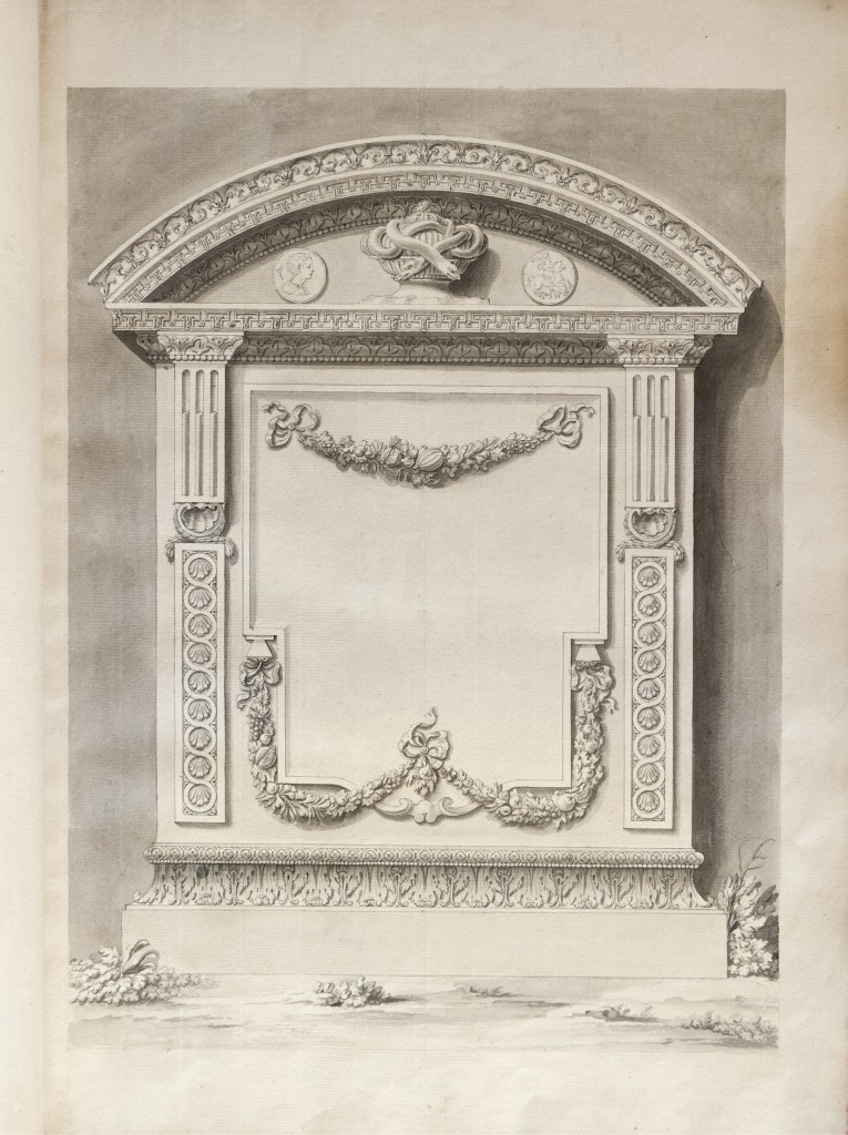 This drawing resembling a cartouche, which may have been executed by one of Piranesi's children or a member of his workshop, appears at the front of the Lilly Library copy.