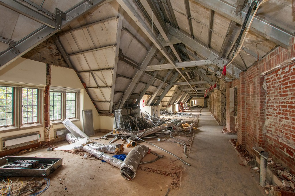 August 2013: The third floor of the Rubenstein Library during demolition. This area previously housed the offices of the Political Science department. After the renovation, it will feature a series of study areas for collaborative research work.