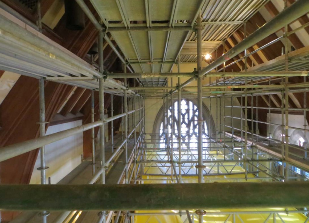 February 2014: Scaffolding in the Gothic Reading Room. The chandeliers have been removed, the lighting systems are being enhanced, and the ceiling panels are being repainted.