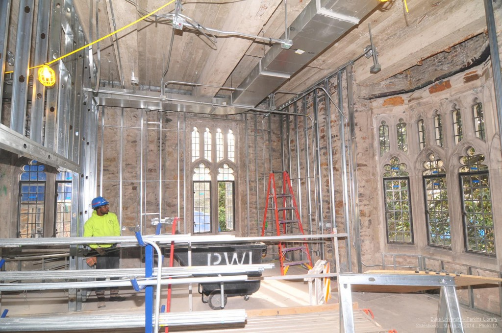 April 2014: Wall framing in the University Librarian's office, formerly the site of the Breedlove Room.
