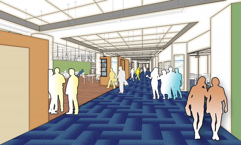 Rendering of a planned social lounge space in the Research Commons.