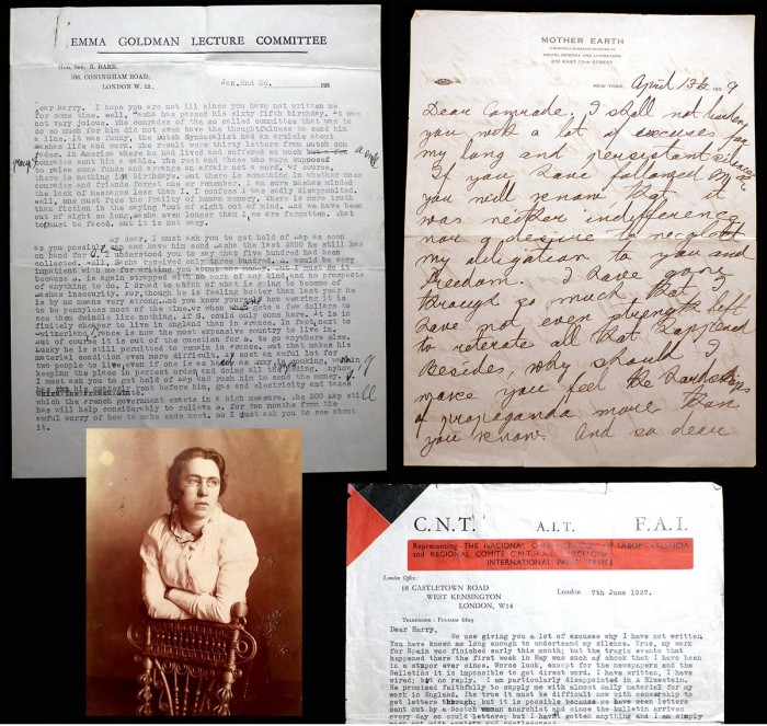 Selected letters and materials by the twentieth-century anarchist Emma Goldman.