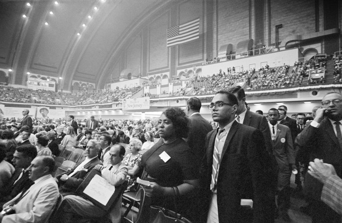 Fannie Lou Hamer and Bob Moses represent the Mississippi Freedom Democratic Party at the 1964 Democratic National Convention in Atlantic City, New Jersey. © 1976 George Ballis/Take Stock
