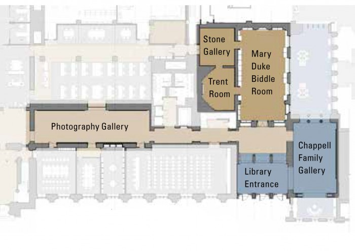 Our exhibit spaces have expanded with the Rubenstein renovation! This map shows where each room and gallery is located.