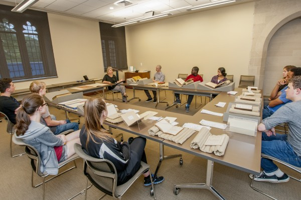 The Doug and Elise Beckstett Rare Book Library Classroom is the primary teaching space for the Rubenstein Library. It can accommodate larger classes than the Harkins Seminar Room and features a document camera for projecting rare materials on a screen for discussion.