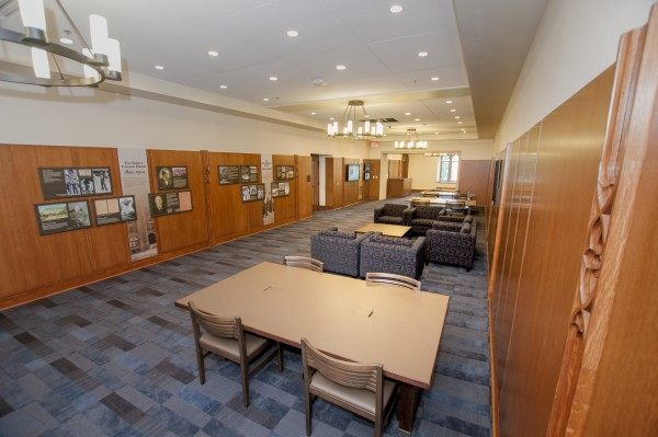 Outside the Gothic Reading Room in the Ahmadieh Family Commons is a new permanent exhibit on Duke University's history. Prepared by University Archives staff, the exhibit traces the institution's rise from a one-room schoolhouse to an internationally recognized research university.