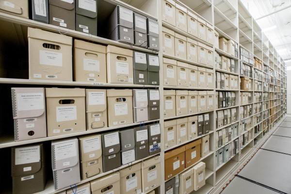 The new secure stack area of the Rubenstein Library has the capacity to accommodate 50,000 linear feet of books, archives, and manuscripts, an increase of 52 percent over the previous special collections stacks. Books are shelved by size (duodecimo, quarto, octavo, folio, double folio) and Library of Congress classification.