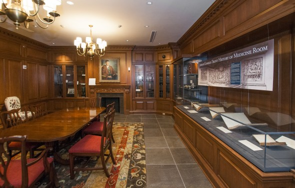 From the Biddle Room, visitors can walk into the Josiah Charles Trent History of Medicine Room to view historical artifacts collected by Dr. Trent and donated by Mary Duke Biddle Trent Semans as part of the History of Medicine Collections, including surgical instruments, microscopes, anatomical ivory manikins, and glass eyeballs.