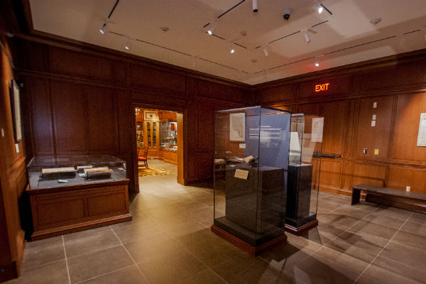 Adjacent to the History of Medicine Room is the Michael and Karen Stone Family Gallery, a new exhibit space designed to feature some of the Rubenstein Library's most extraordinary treasures. The opening exhibit, American Beginnings, featured a very rare copy of the first book printed in what is now the United States—the Bay Psalm Book (1640)—belonging to David M. Rubenstein '70, who generously loaned it for our opening. Viewers could also see rare early maps of North America from the collection of Mike Stone '84.