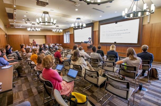 On the first floor of the Rubenstein Library is the Holsti-Anderson Family Assembly Room, a highly versatile and AV-equipped event space that can accommodate up to a hundred chairs. The room can be used for a wide variety of library and university events.