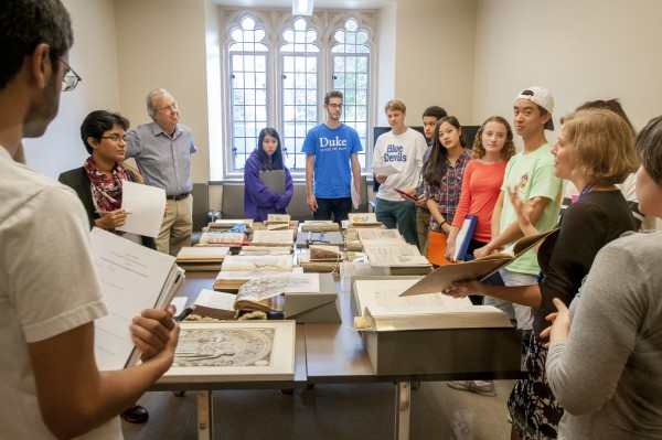 Just off the Photography Gallery is the Harry H. Harkins Seminar Room, an instruction space where classes of fewer than ten students can meet and work with Rubenstein Library collections.