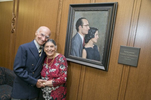Rubenstein library dedication held Saturday morning October 3, 2015 Aziz and Vahdat Ahmadieh pose in the Ahmadieh Family Commons.