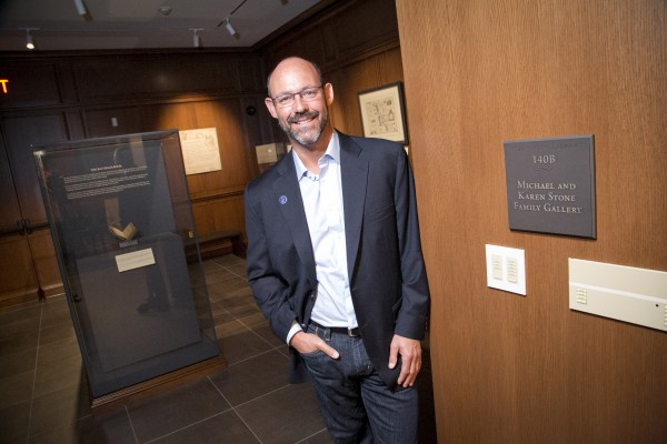 Rubenstein library dedication held Saturday morning October 3, 2015 Michael Stone poses in the room named for his family.