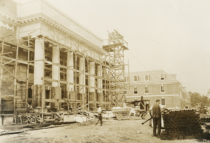 Historical photograph of Lilly Library under construction, 1926