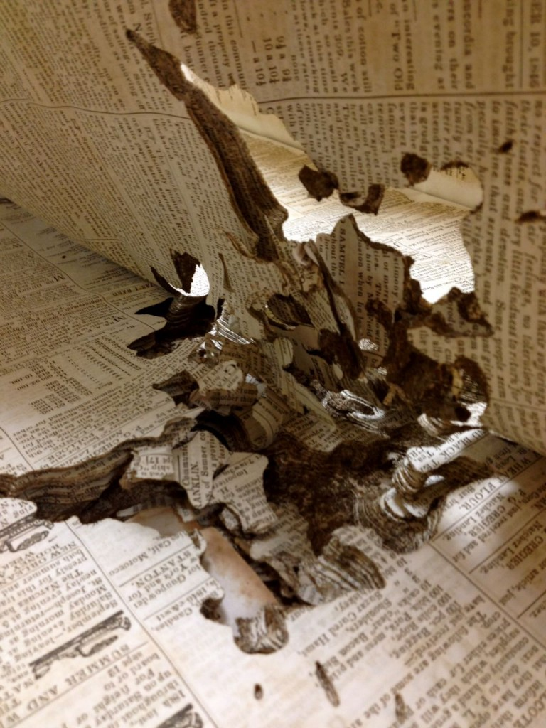damaged newspaper