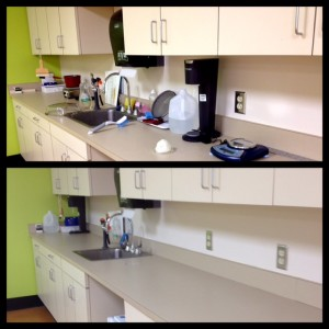The sink area before and after.
