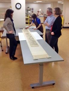examining a scroll