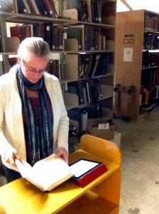 Beth surveying Music Library materials.