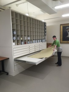 The new super oversize cabinets in the Rubenstein Library are ready to handle the biggest items.