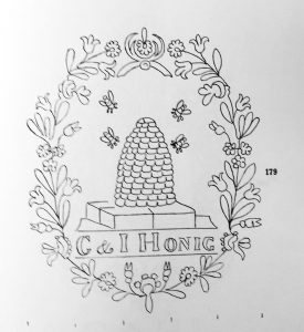 watermark of a beehive with four bees flying around, centered inside a wreath of flowers