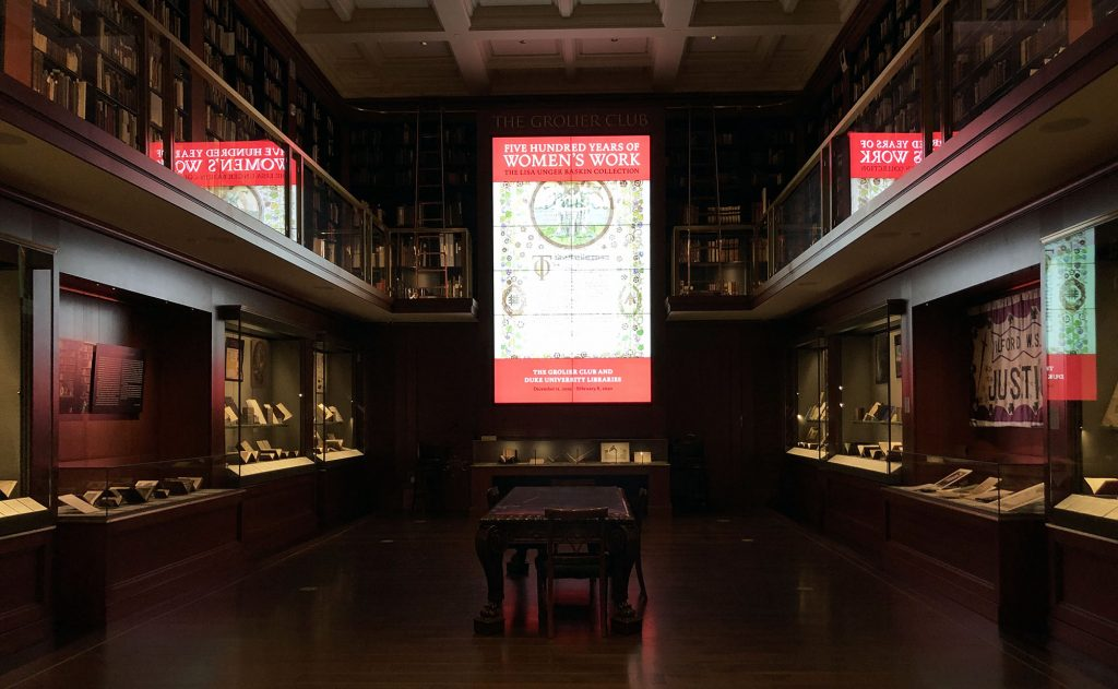The Grolier Club exhibition space, ready for opening.