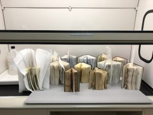 books drying in fume hood