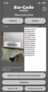 bar code scanning app screen shot