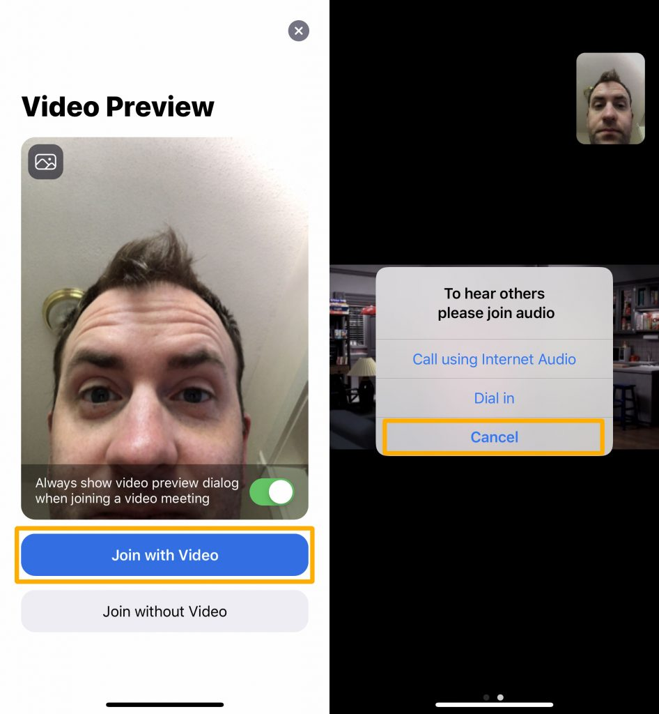 Side by side images of mobile Zoom interface
