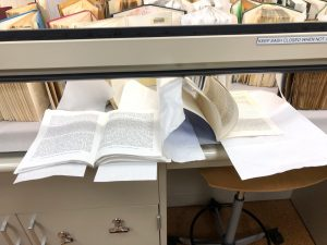 wet books drying in fume hood