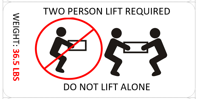 "Label for a ""two person lift"", including the weight of the box."