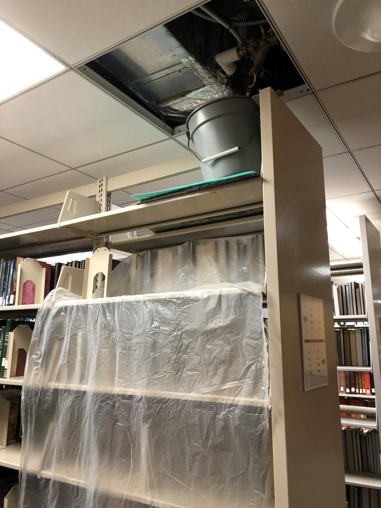 library shelving under a ceiling leak