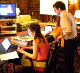 Professor Begali's class in the Rare Book Room