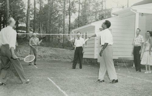 International students playing badminton