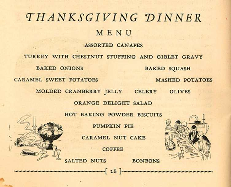 thanksgiving dinner menu examples