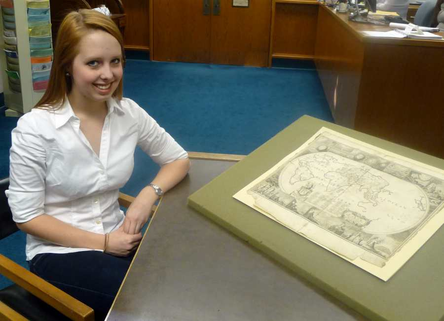 Chloe and a map from the Frank Baker Collection