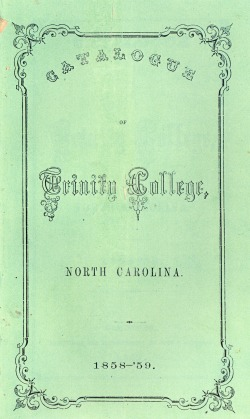 Cover of Catalogue of Trinity College, 1858-1859